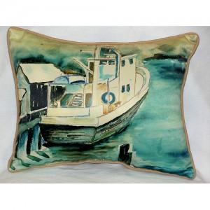 Betsy Drake Oyster Boat Nautical Pillow