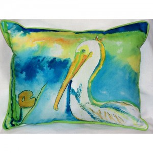 Betsy Drake White Pelican Coastal Pillow