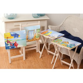 waterside retreat tv trays with stand