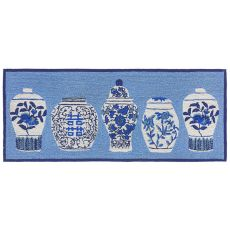 Liora Manne Frontporch Ginger Jars Indoor Outdoor Rug Blue 24 X60 Exciting New Collection