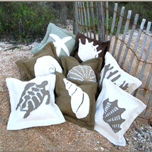Coastal Burlap Throw Pillows
