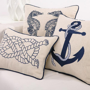 Nautical Embroidered Pillows