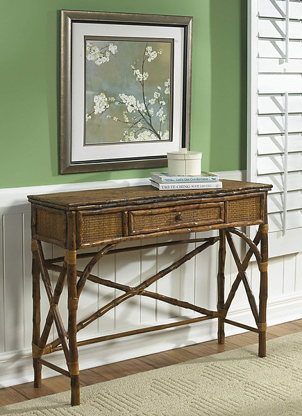 Coastal Bamboo Console Table With Drawer Beach D 233 Cor Shop