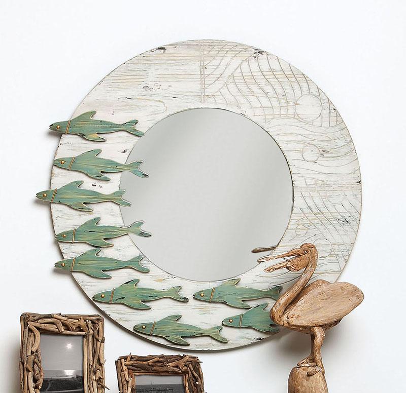 School of fish wooden framed round mirror