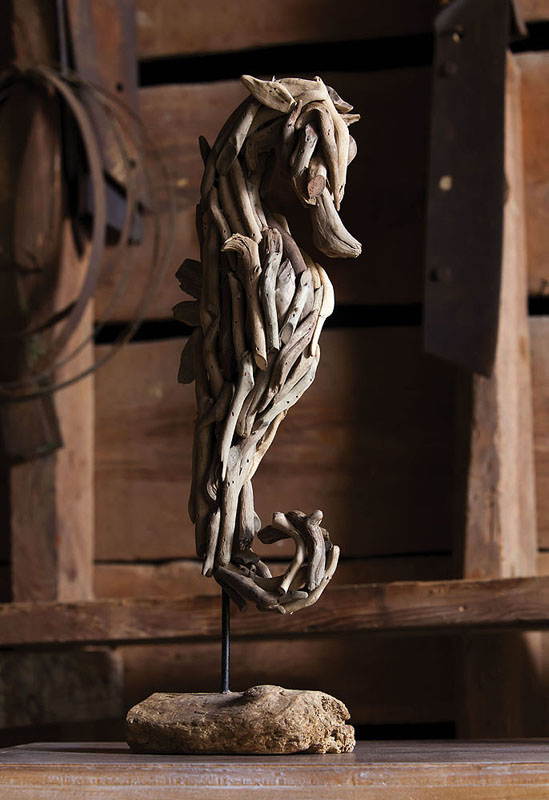 Driftwood seahorse sculpture on stand for Statue decorative d interieur