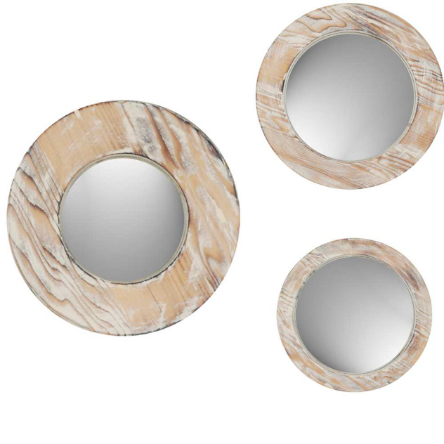 round washed wood mirrors set of 3. Black Bedroom Furniture Sets. Home Design Ideas