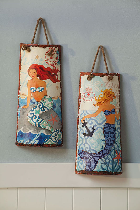 Ceramic Mermaid Wall Decor Set Of 2