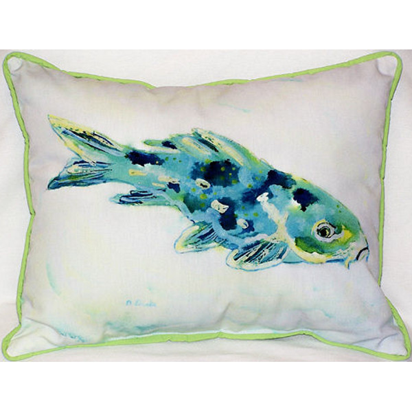 Blue koi indoor outdoor pillow beach d cor shop for Koi fish pillow