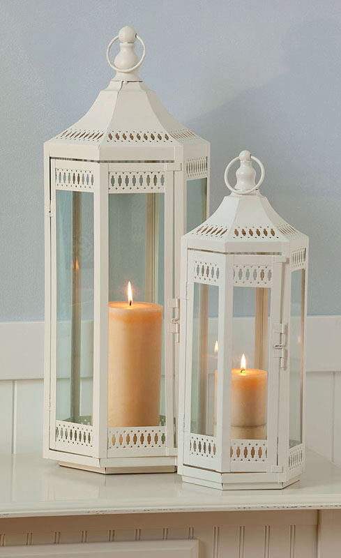 Set Of 2 White Metal Lantern