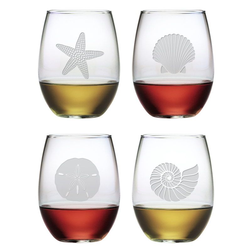 seashore etched stemless wine glass mixed set of 4 - Etched Wine Glasses