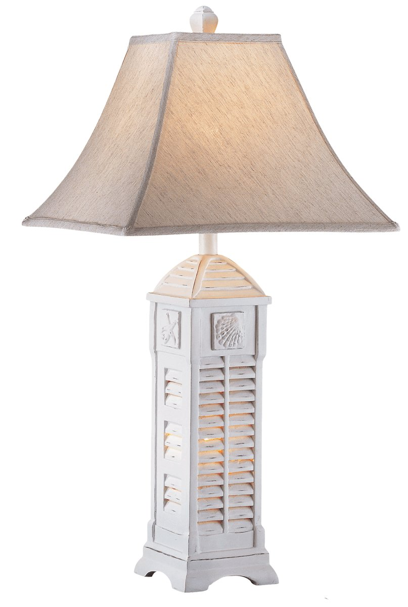 Shell Night Light Cottage White Table Lamp