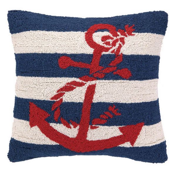 Nautical Coastal Throw Pillows : Nautical Hook Anchor Stripe Throw Pillow