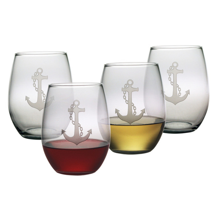 Anchor Etched Stemless Wine Glass Set