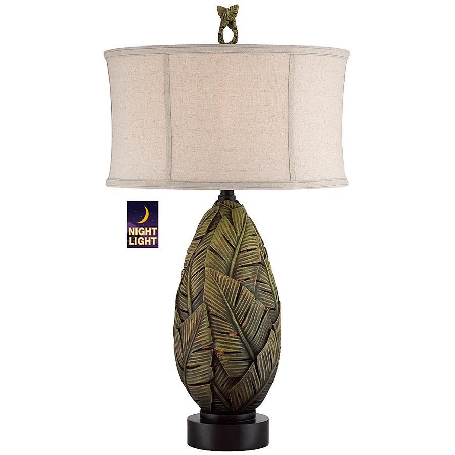 Banana Leaf Nightlight Emerald Green Table Lamp