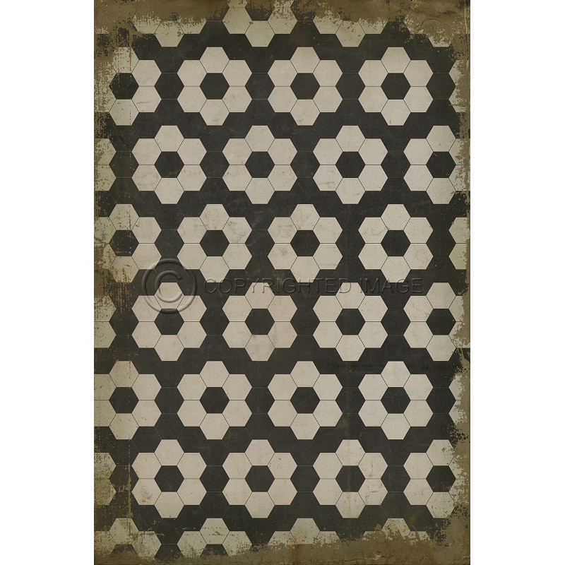 ... Black On White On Black Pattern Vinyl Floor Cloth