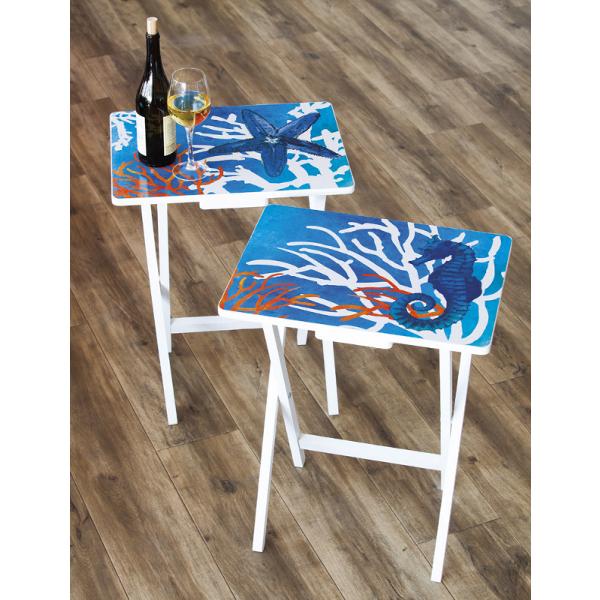 Red Coastal Foldable Side Table/TV Tray Set of 4