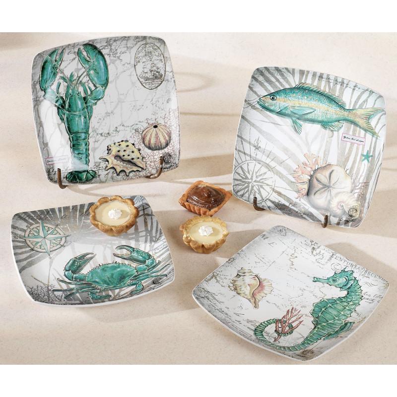 Coastal Ceramic Dessert Plates Set Of 4
