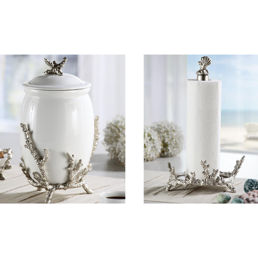 Nautical Kitchen Decor: Coral Collection Canister And Paper Towel Holder