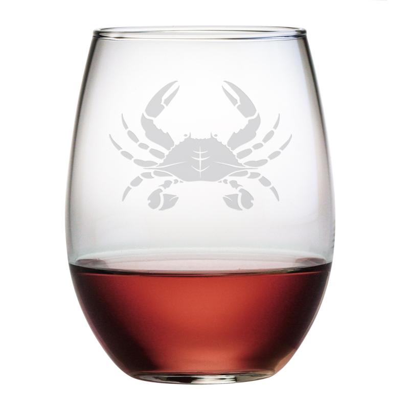 Crab etched stemless wine glass set - Beaker wine glasses ...