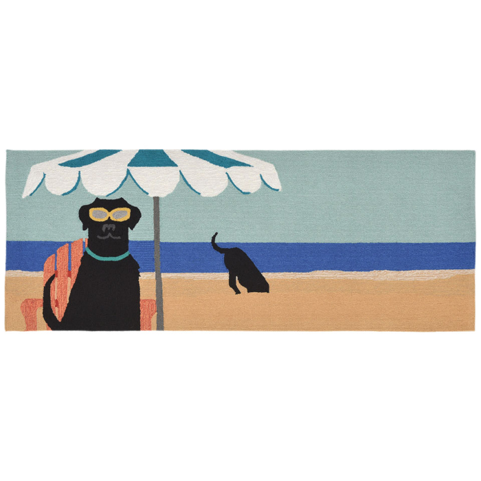 Transocean Dog Rug: Dog Digging At The Beach Doormat For Indoor Or Outdoor