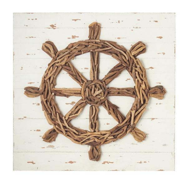 Ship 39 s wheel driftwood wall decor beach d cor shop for Driftwood wall decor