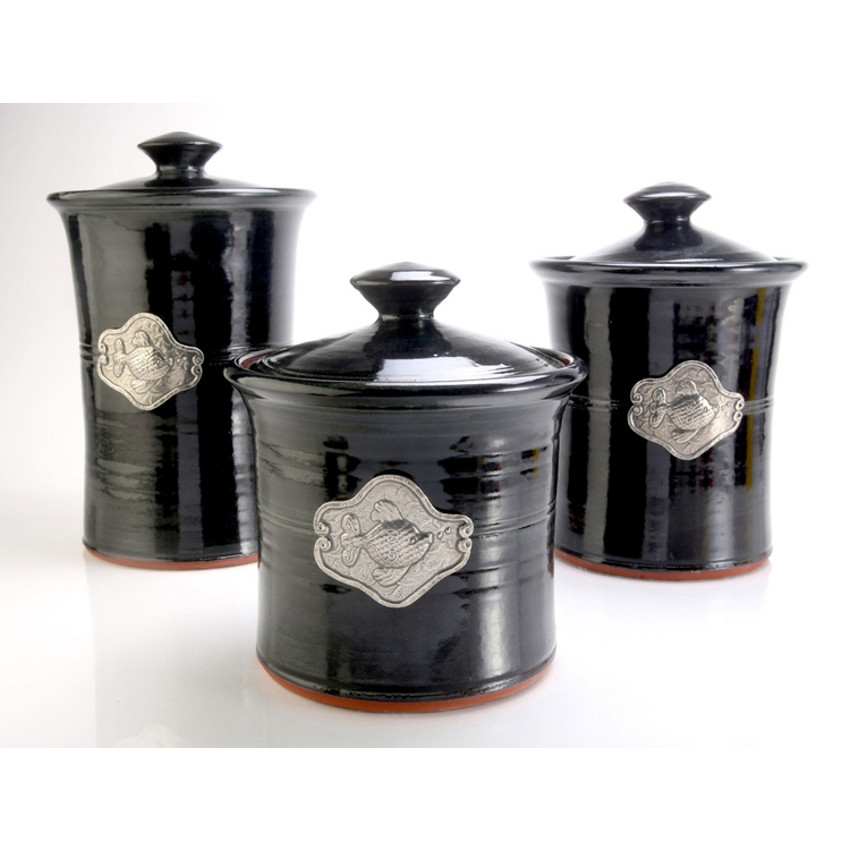 Fish 3 piece stoneware canister set in 4 colors beach for Kitchen kitchen set