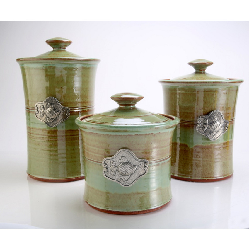 fish 3 piece stoneware canister set in 4 colors beach beach kitchen decor and nautical kitchen accessories