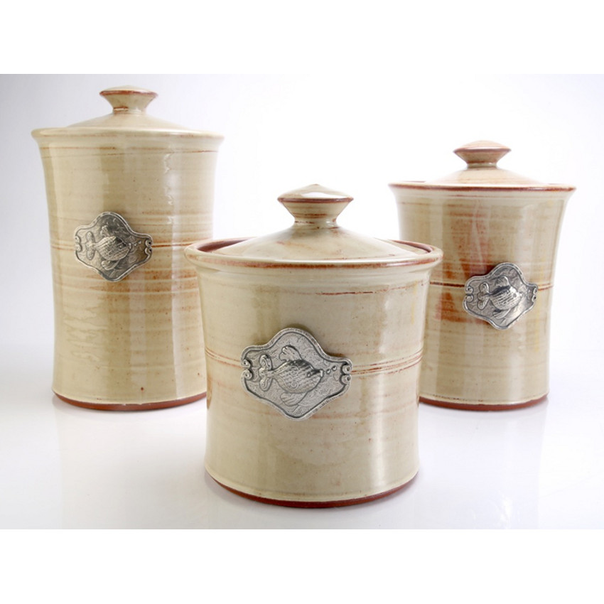 Fish 3 Piece Stoneware Canister Set In 4 Colors Beach