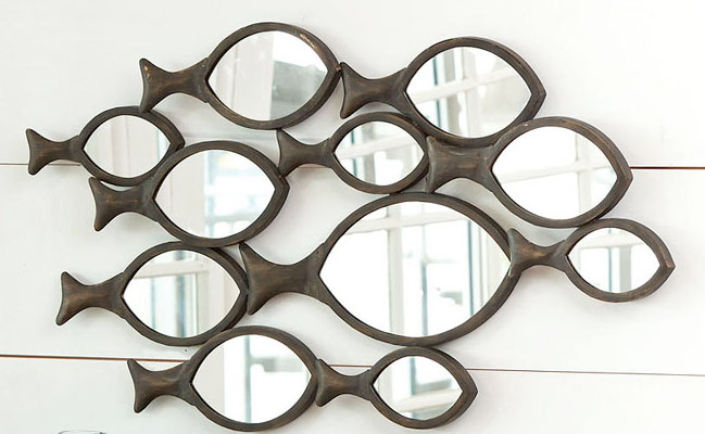 Metal Fish Wall Decor school of fish metal wall mirror