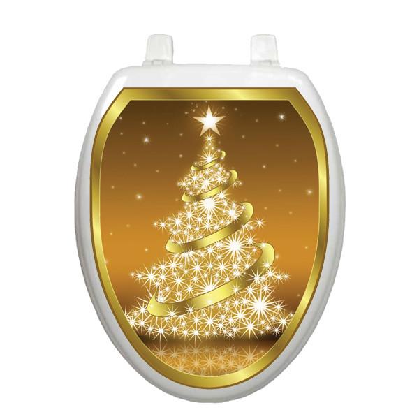 Golden Christmas Tree Toilet Seat Decoration