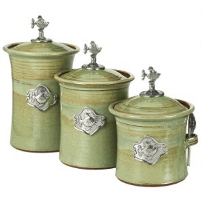 fish 3 piece canister set in 4 colors