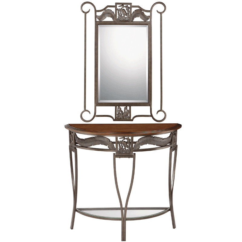Heron entry table and mirror for Salon table and mirror