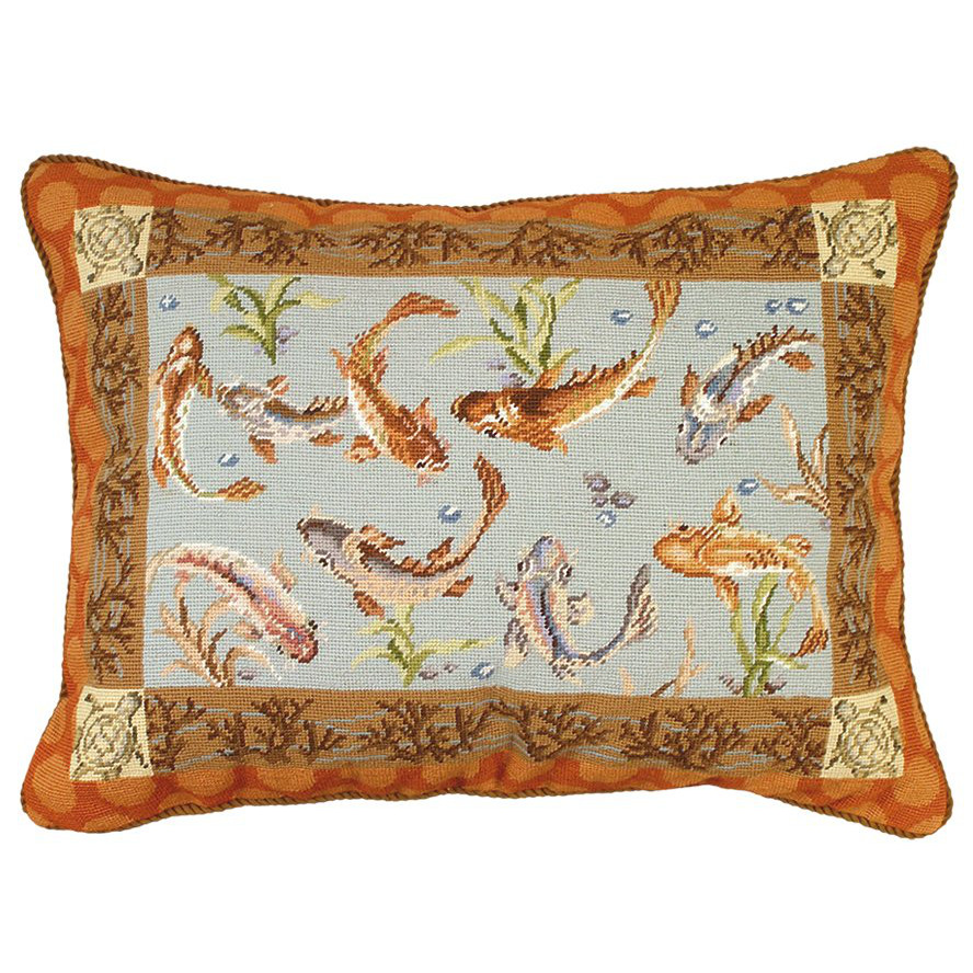 Large koi needlepoint pillow for Koi fish pillow