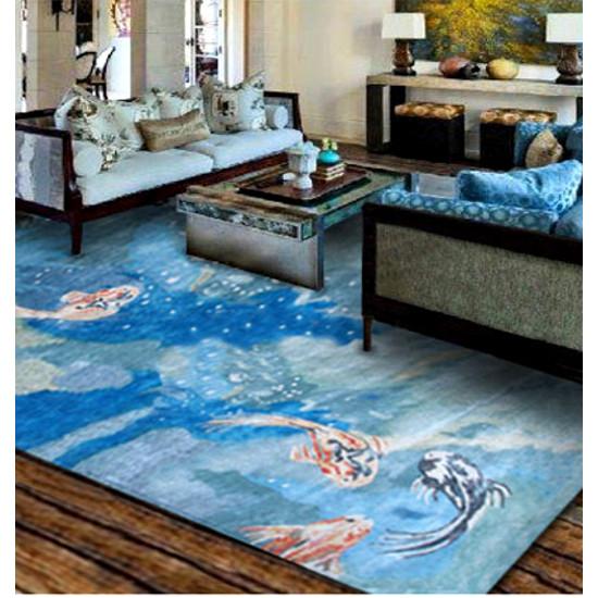 Carpio koi fish rug for Fish area rug