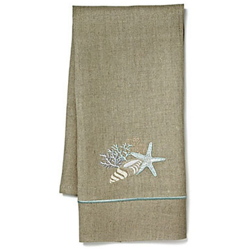Guest Towels Linen: Shell Collection Natural Linen Guest Towel