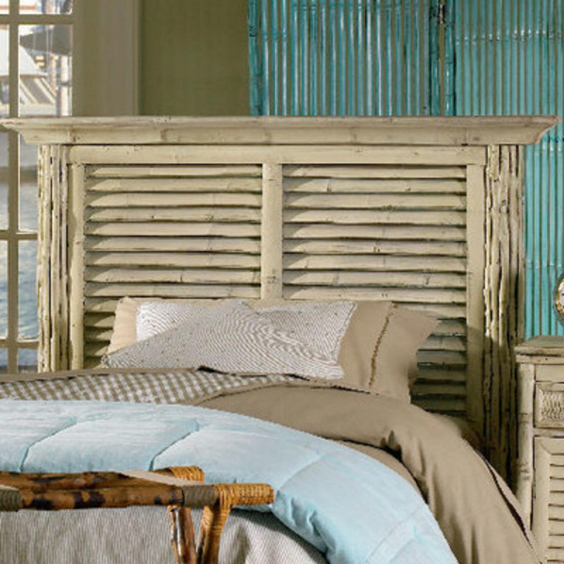Coastal Bamboo Louvered Whiye Headboard Beach D Cor Shop