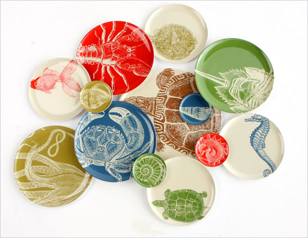 Sealife Melamine Side Plates Tray Sold Separately Pieces Sold Separately Four Piece Set & Sealife Melamine Side Plates