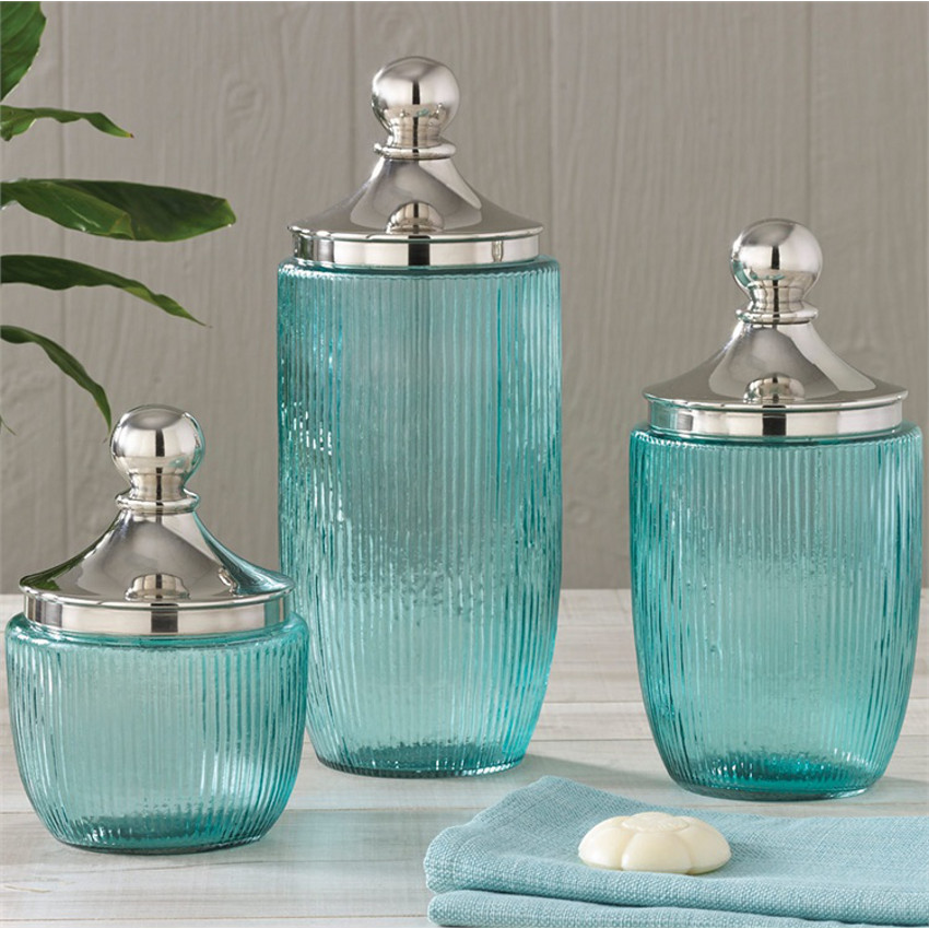 Coastal aqua ribbed glass jar set for Decorative bathroom accessories sets
