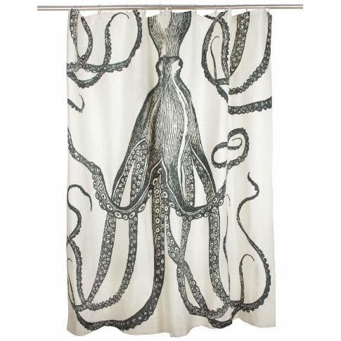 Thomas Paul Octopus Shower Curtain   Charcoal Charcoal