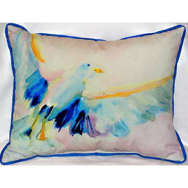Flying Sea Gull Indoor Outdoor Pillow Beach Décor Shop
