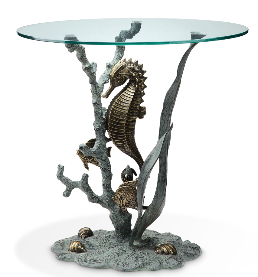 Seahorse Glass Top End Table Seahorse Glass Top End Table
