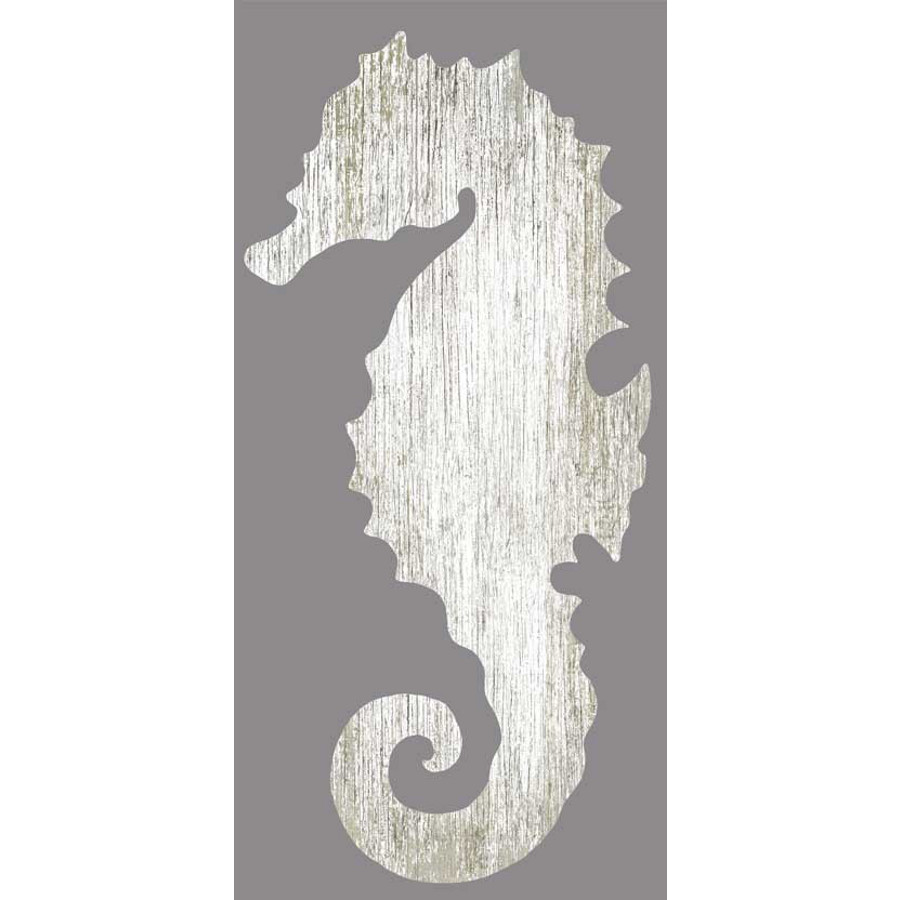 Seahorse Silhouette Facing Left Wall Art White Beach