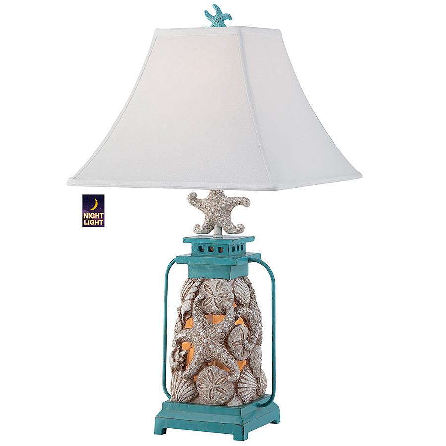 Shop nautical coastal table lamps beach themed seashell lantern table lamp geotapseo Gallery