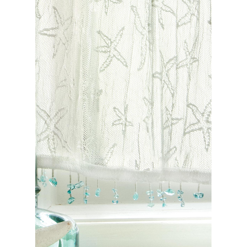 Starfish valances and tiers beach d cor shop for Beach house window treatments