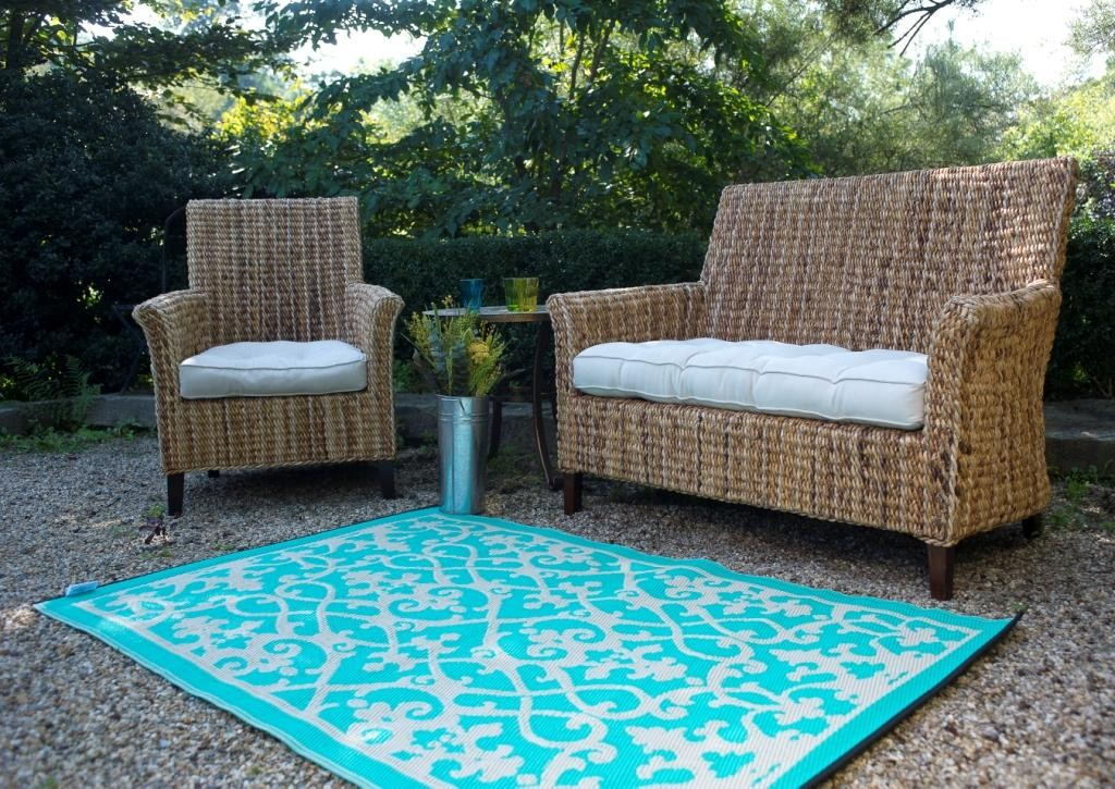 venice cream turquoise indoor outdoor rug. Black Bedroom Furniture Sets. Home Design Ideas
