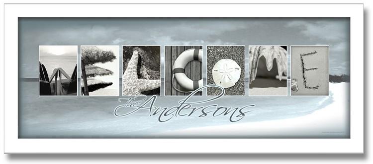 Welcome beach letter art framed personalized artwork