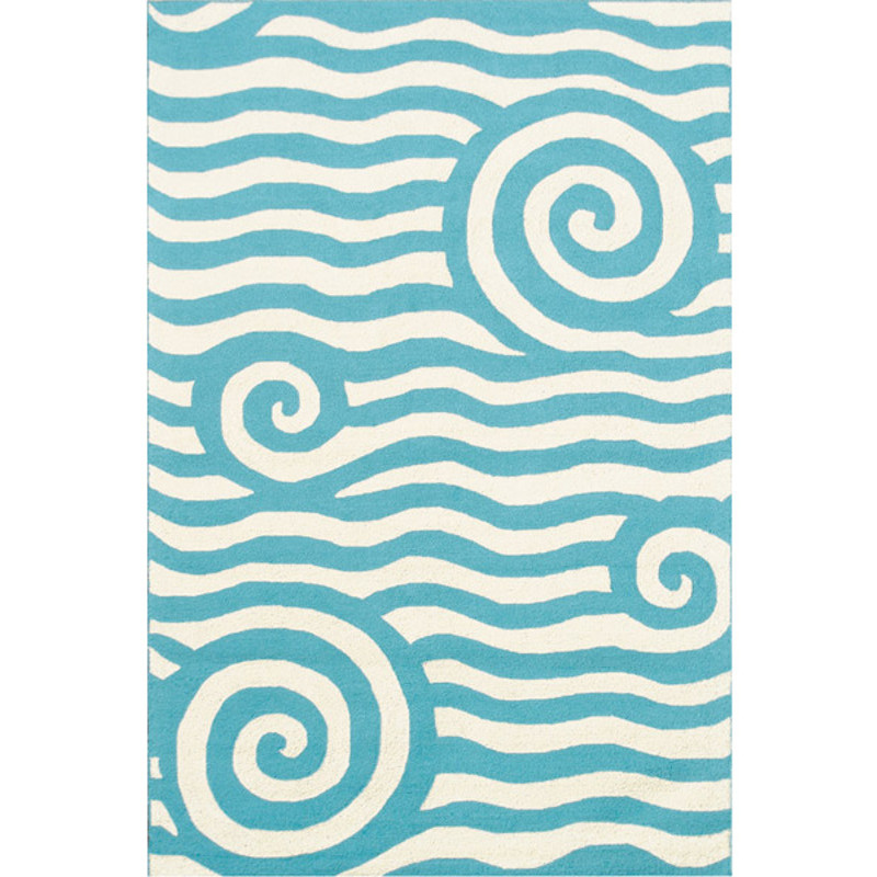 Yala Blue And White Wave Indoor Outdoor Rug