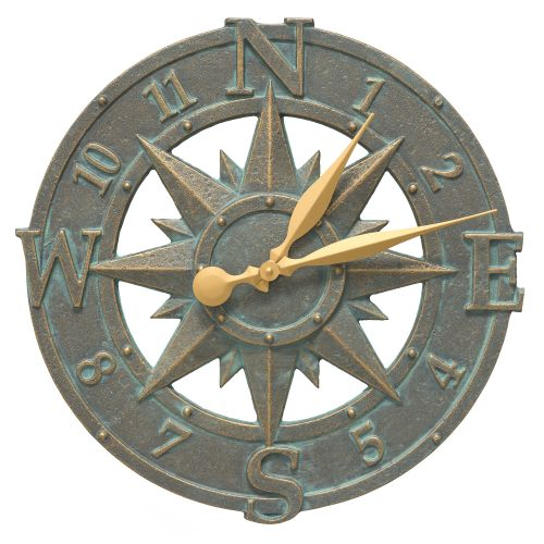 "16"" Compass Rose Clock Indoor Outdoor, Bronze Verdigris"