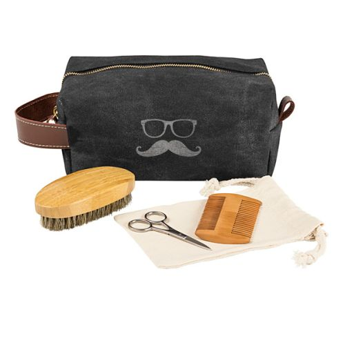 cathy 39 s concepts groomsmen waxed canvas and leather dopp kit with beard grooming set. Black Bedroom Furniture Sets. Home Design Ideas