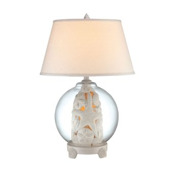 coral shell glass globe table lamp with night light. Black Bedroom Furniture Sets. Home Design Ideas